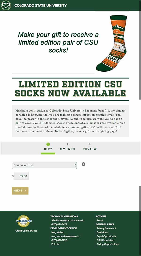 Colorado State socks promotion