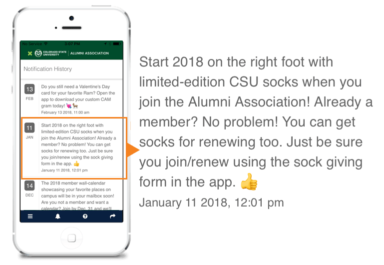 The Colorado State Alumni Association used this notification to generate interest in the app and renewing memberships.