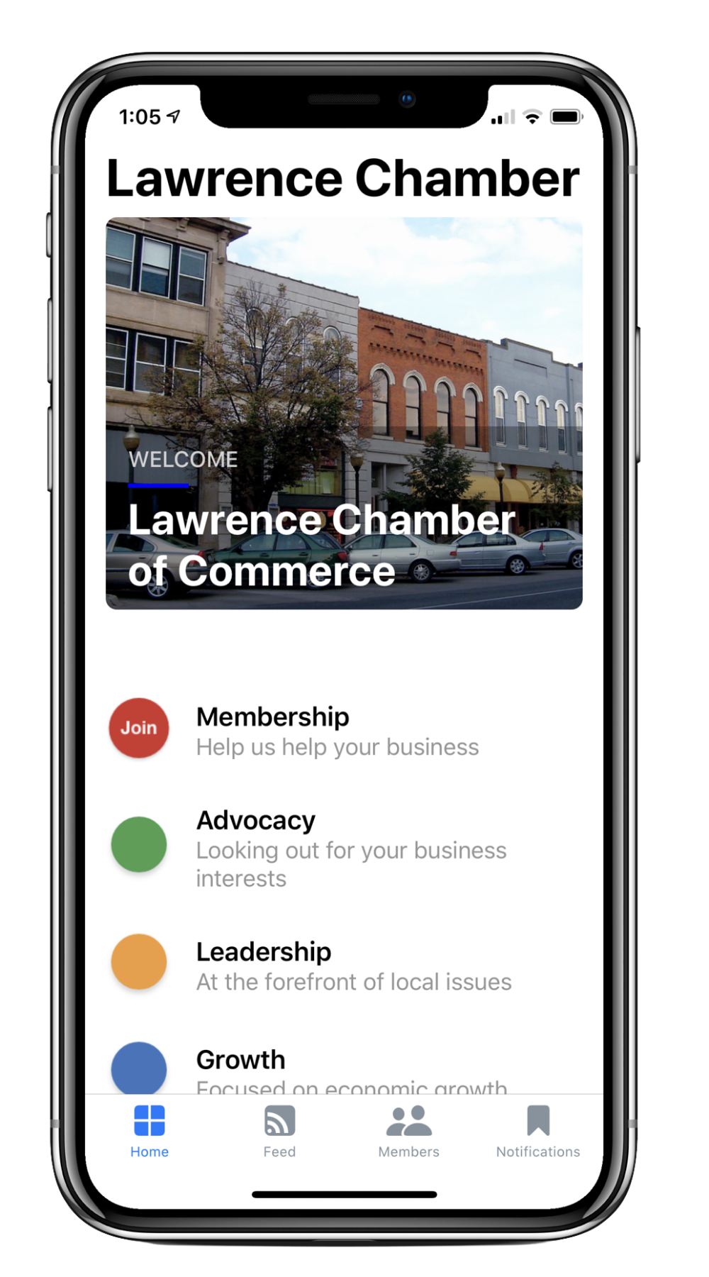 Copy of Lawrence chamber MobileUp screenshots